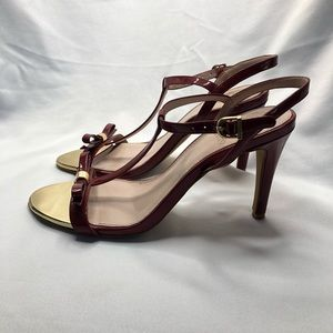 Vince Camuto Red Patent Leather T-Strap Heels